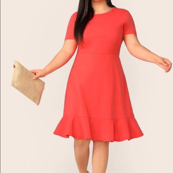 Lolita neon orange midi plus size dress NWT
